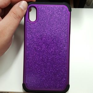 "Case for iphone xs max 6.5"" black-purple glitter"